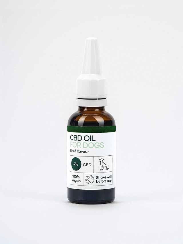 CBD olie til hunde med oksekød aroma i en 30ml flaske
